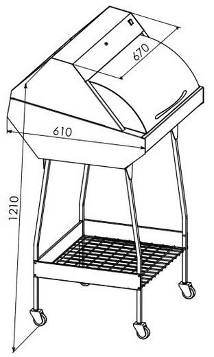 УФ камера для зберігання стерильного інструменту ПАНМЕД-1С (670мм), ПАНМЕД 1С — з металевою сектор-кришкою