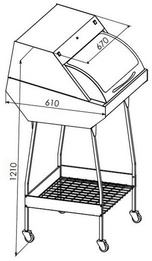 УФ камера для зберігання стерильного інструменту ПАНМЕД-1С (670мм), ПАНМЕД 1С — зі скляною сектор-кришкою