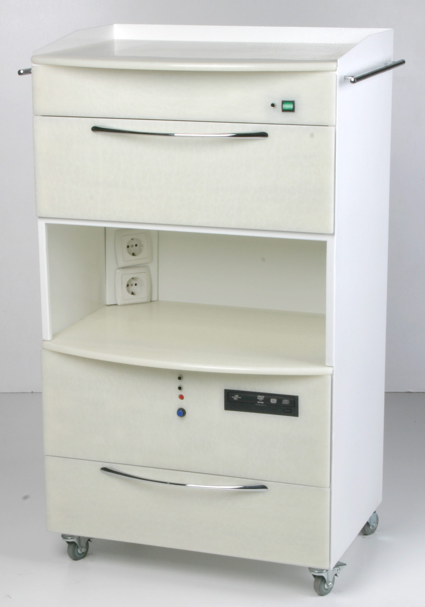 MASTER SHIMMA mobile cabinet with UV chamber and PC. The upper part of  the cabinet is PANMED-7 UV irradiation chamber. The lower part is the cabinet for PC. The upper and middle shelves are intended for medical instruments.