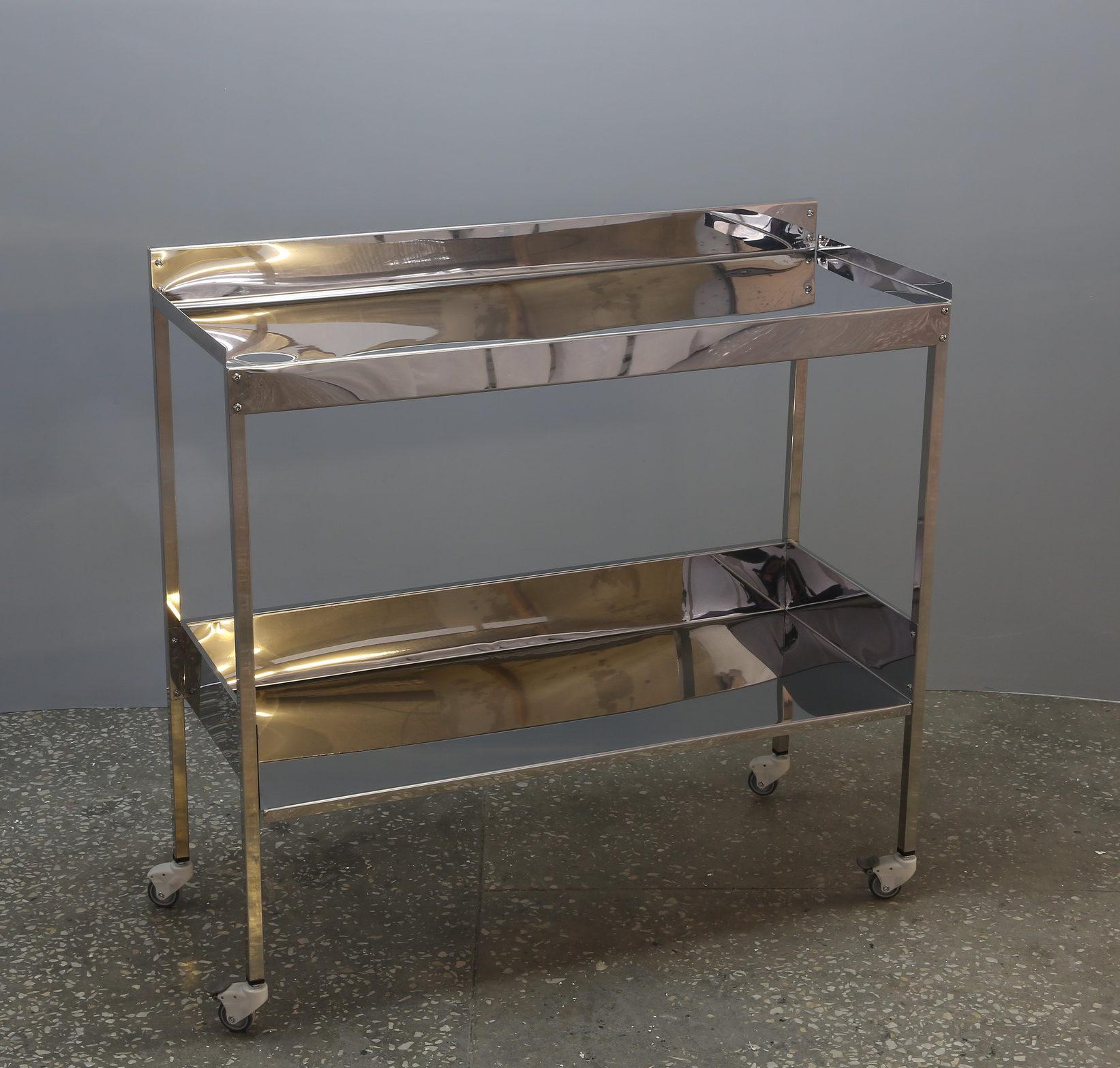 Столик из нержавеющей стали на две полки (1 метр)