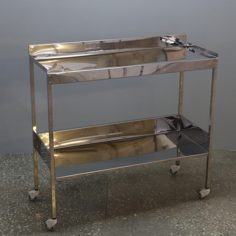 Stainless steel instrument table with 2 shelves (1000 mm)