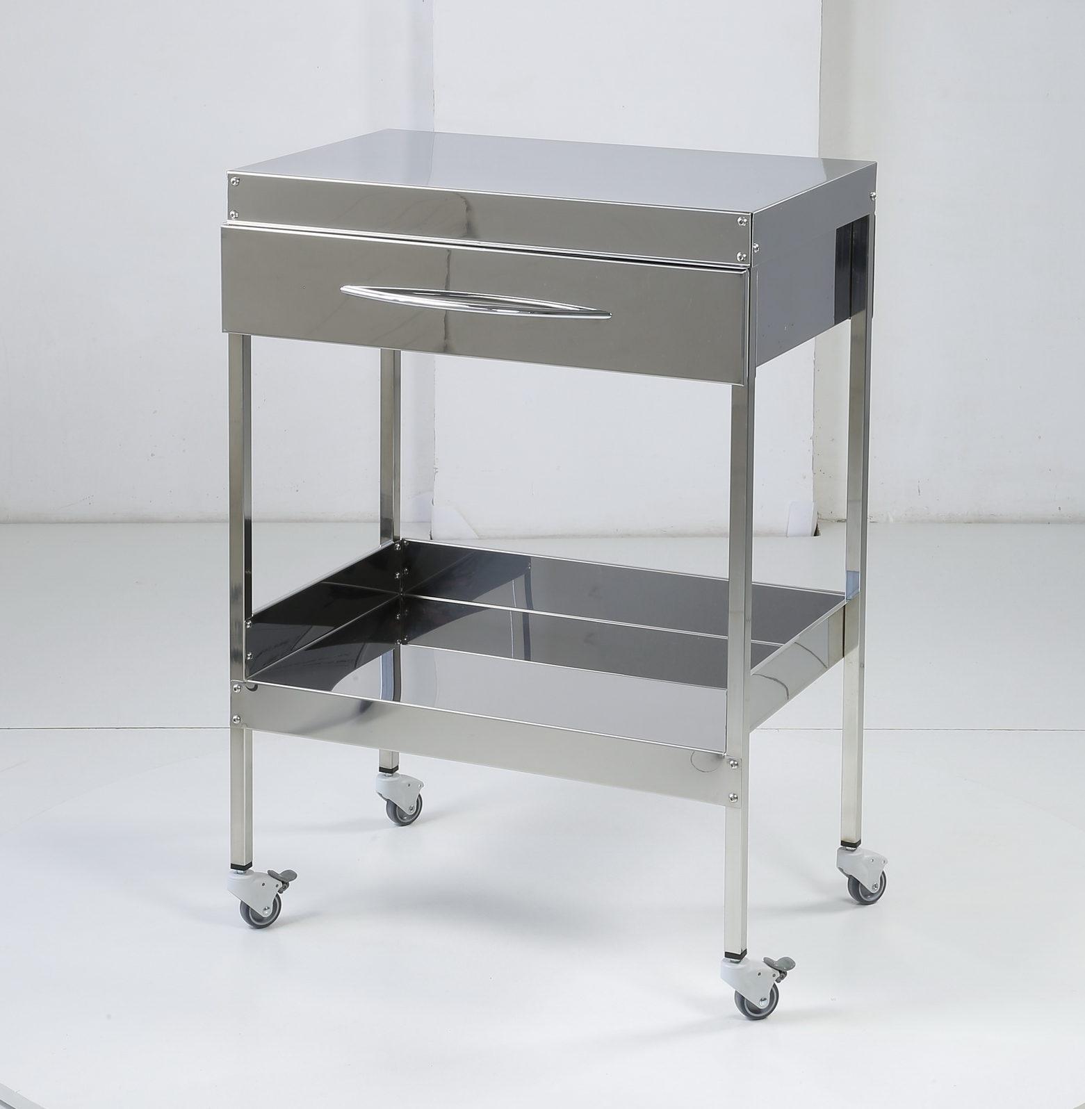 Медицинский столик на 2 полки с ящиком. Без бортов.