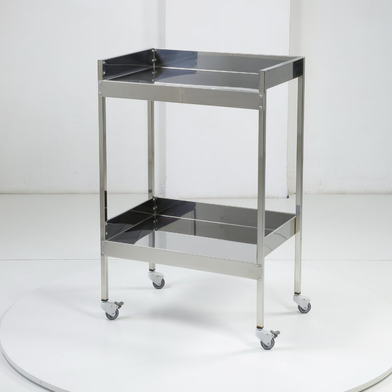 Stainless steel shelving unit with 2 shelves