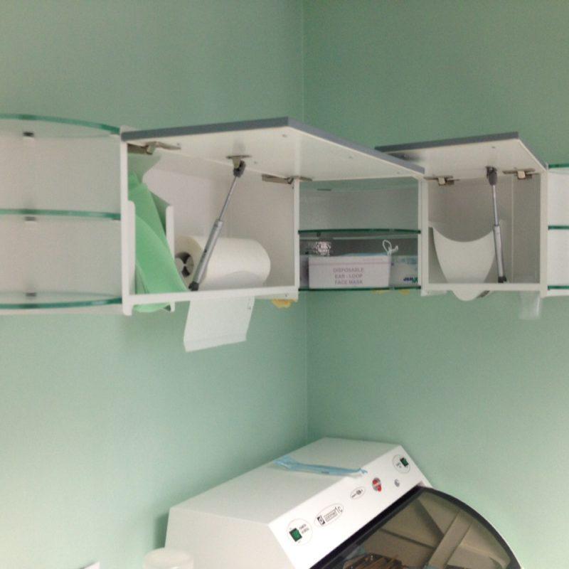 Left-side corner dispenser opened