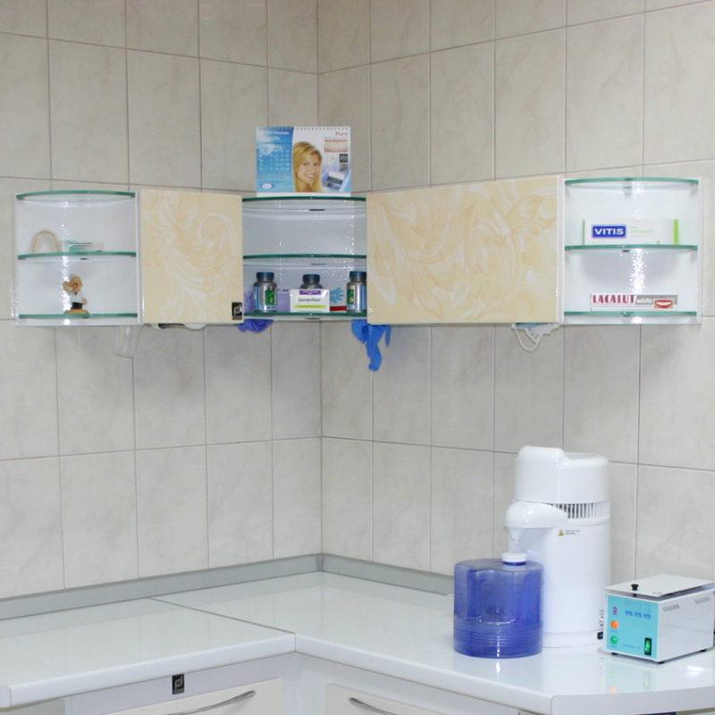 A corner dispenser as a part of suite #115