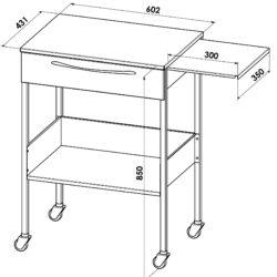 Медицинский столик с ящиком и выдвижной плоскостью
