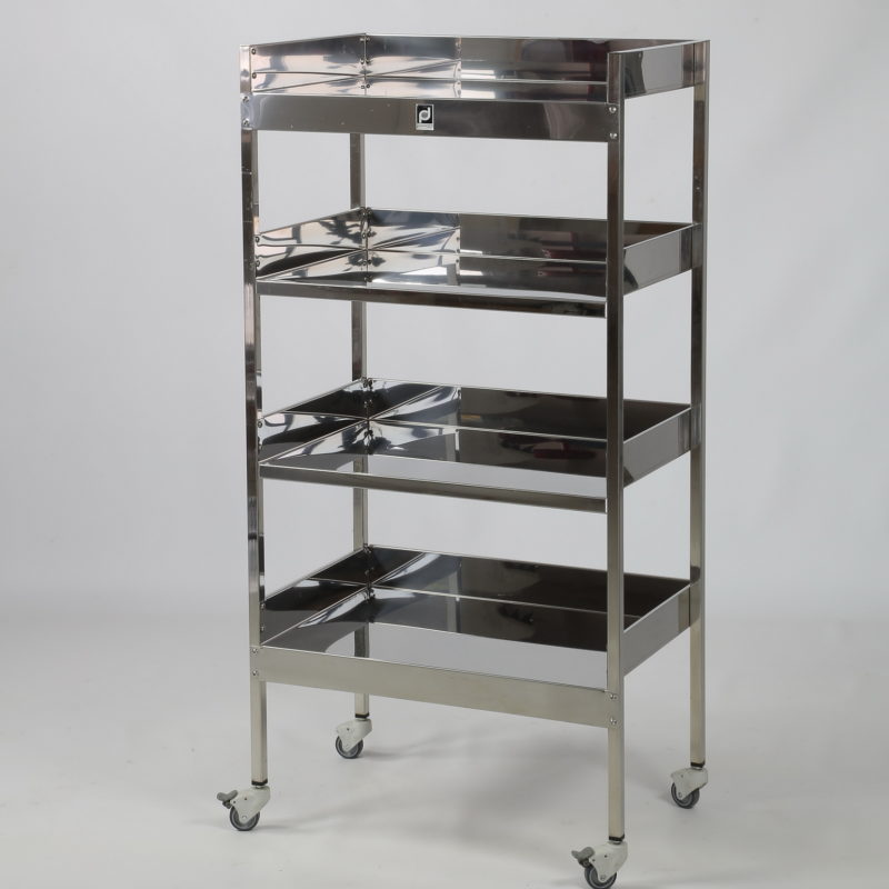 Stainless steel shelving unit with 4 shelves