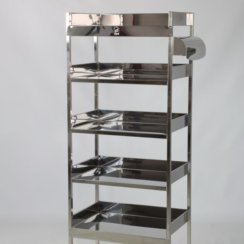 Stainless steel shelving unit with 5 shelves