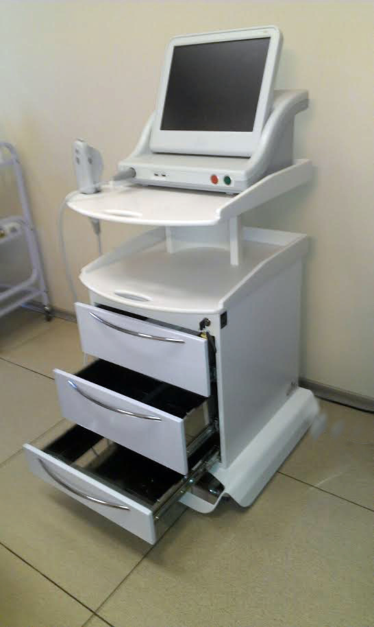 Mobile cabinet for innovative ultrasonic device for facial skin